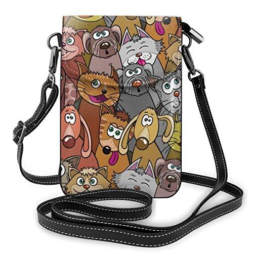 Lawenp Monedero pequeño para teléfono celular cruzado para mujeres, gatos y perros con fondo transparente. Cartera tipo bandolera con diseño sin fin de gatito y cachorro con ranuras para tarjetas de