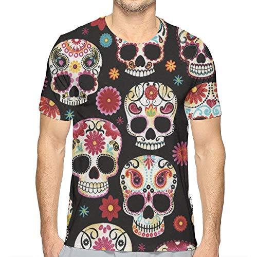 YongColer Unisex Funny 3D Printing Sugar Skull T-Shirt Hipster Clothing