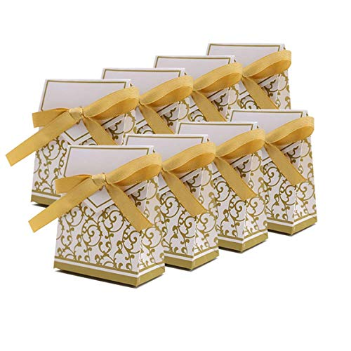 Xin store Wedding Party Favor Candy Boxes with Gold Ribbon, Pack of 100