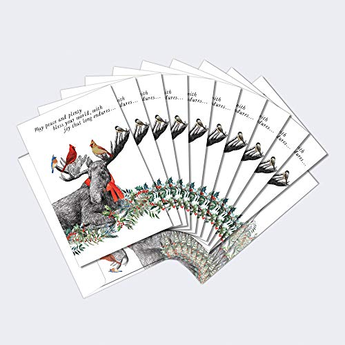 """Tree-Free Greetings Holiday Christmas Card 10 Pack & Matching Envelopes, Made in USA, 100% Recycled Paper, 5""""x7"""", Boho Moose Blessings (HB53452)"""