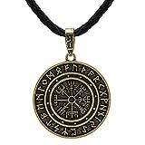 HLARK Colgante de Collar Vikingo con Runas Vegvisir Amuleto Céltico Joyería para Hombre (#4)