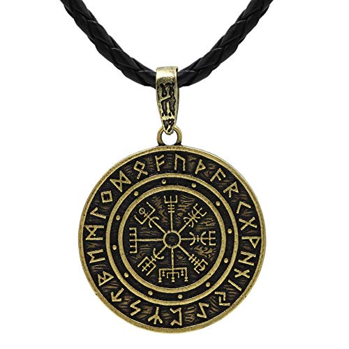 MLARK Handcrafted Norse Vikings Runes Amulet Pendant Celtic Pagan Pewter Viking Talisman Gift Necklace Jewelry for Men Unisex (#4-Gold)