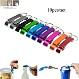 Uniqus TEMLUM 10 Pcs Beer Bottle Opener Keychain 4 in 1 Pocket Aluminum Bottle Openers Can Personalized Logo Wedding Favor Gifts -