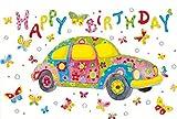 Geburtstagskarte Glückwunschkarte Geburtstag Happy Birthday Card Genieß den Moment (Buntes Auto)
