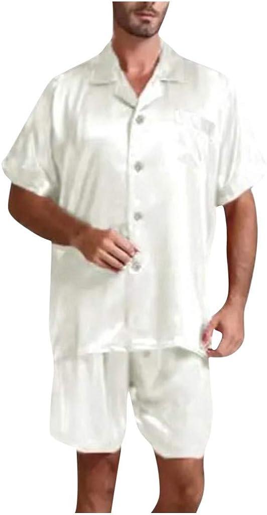 FUNEY Mens Summer Pajamas Set Loungewear Men's Satin Silky Sleepwear Button-Down Short Sleeve Tops and Shorts Summer Set