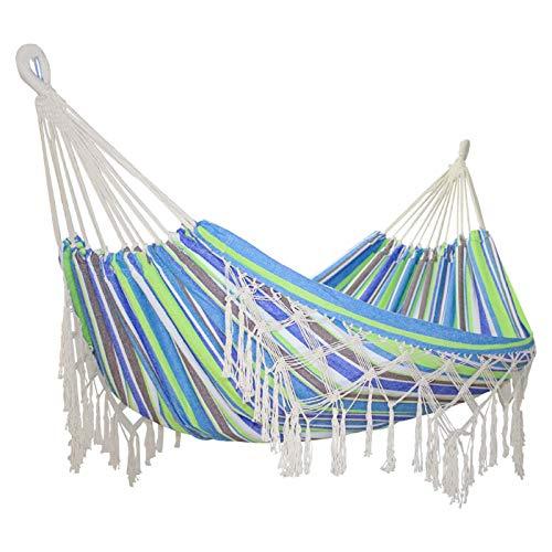 Doble Al Aire Libre Tassel Interior Hamaca Portátil Colorido Lienzo Lienzo Hamacas Silla para Jardín Viaje Camping Playa árbol(Color:Azul)