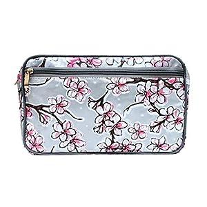IKURI Wasserdichte Kosmetiktasche – Kulturtasche Waschtasche Utensilio Handarbeit aus Wachstuch – Design Hanami silber