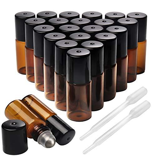 Belle Vous Roll On Flasche Braun Leer (24 Stk) - 3ml Braunglas Glasflaschen zum Befüllen mit Edelstahl Roller für Ätherisches Öl, Parfüm, Lippenstifthülsen, Duftproben – Inklusive Tropfer Pipette