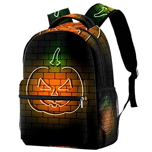 Mochila de Halloween con diseño de gato de neón en pared de ladrillo, mochila escolar, mochila de viaje