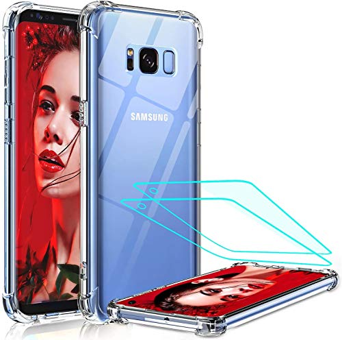 LeYi for Samsung Galaxy S8 Case with 3D PET Screen Protector(2 Pack),Crystal Clear [Military Grade] Thin Air Cushion Full Body Shockproof Silicone Hard PC Phone Cover for Samsung S8