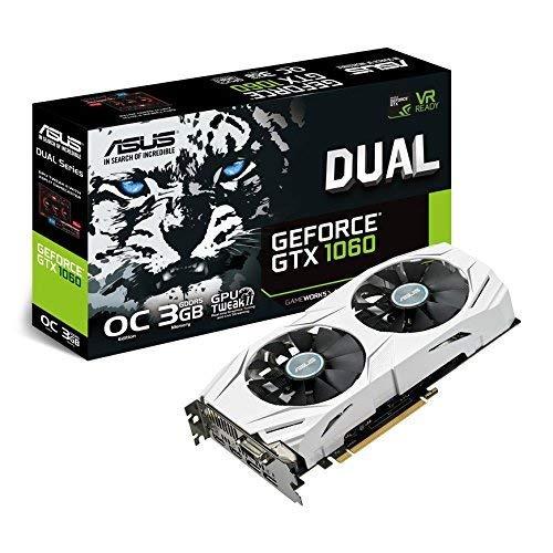 ASUS NVIDIA GeForce GTX1060 Dual O3G Grafikkarte (3GB DDR5, PCIe 3.0, HDMI, DisplayPort, DVI) (Generalüberholt)