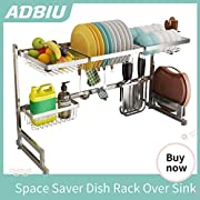 Dish Drying Rack Dish Drainer for Kitchen Sink Stainless Steel Over The Sink Shelf Storage Rack (Sink Length ≤ 32.5 inch)