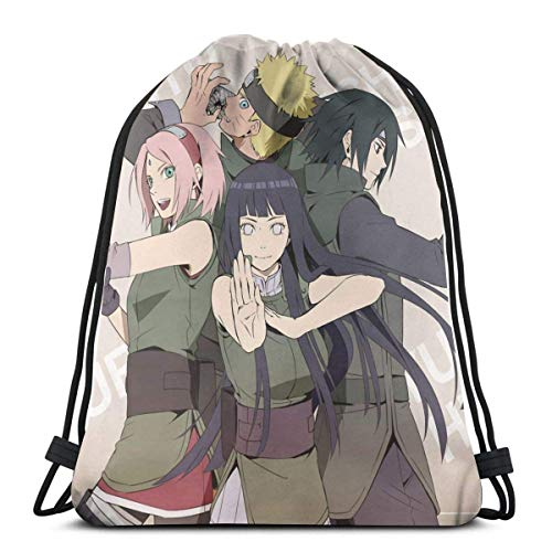 WH-CLA Drawstring Backpack Team 7 Sakur-A Sasuke Hinata Sport Drawstring Backpacks Anime Gym Print Cinch Bags Wrapping Gift Bag Storage Goodie Bags Drawstring Bag Durable Lightweight Favo