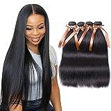 ALLRUN Straight Hair Bundles Brazilian Straight Human Hair 4 Bundles 100% Unprocessed Straight Virgin Hair 4 Bundles Human Hair Extensions Natural Black(22 22 22 22)