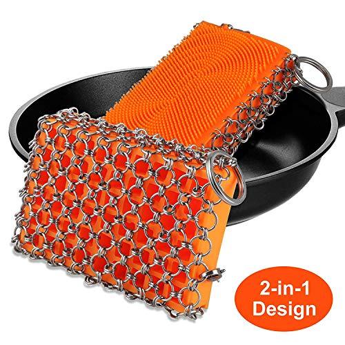 EEEKit Gusseisenreiniger, Kettenwäscher aus Silikon und Edelstahl mit Aufhängering für Küchengrill-Kochgeschirr, spülmaschinenfest