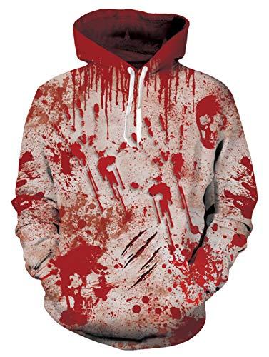 AIDEAONE - Sudadera con capucha para hombre y mujer, impresión 3D, ligera, talla S a 3XL Rojo Sangre S-M