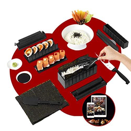 Kit Sushi Maker - Moldes para sushi completo + libro de 50 recetas de regalo - 11 piezas - Con cuchillo experto a sushi, cocinar, arroz