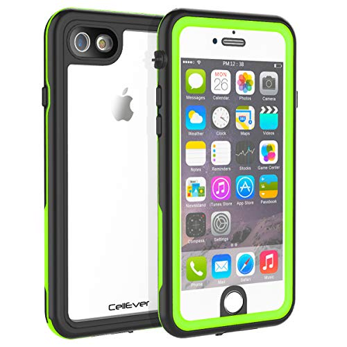 CellEver Compatible with iPhone 6 / 6s Waterproof Case Shockproof IP68 Certified SandProof Snowproof Full Body Protective Clear Transparent Cover Designed for iPhone 6 / 6s (4.7 Inch) KZ Lime Green