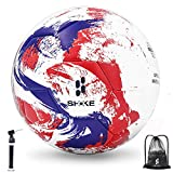 SHOKE Soccer Ball Size 5 Thermal-Bonding Hold Air Water-Resistant, Official Match Soccer Balls for Training Outdoor Sports Rebound Height 51.18-53.15 inch with Hand Pump and Mesh Bag