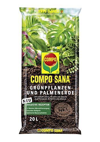 COMPO SANA Grünpflanzen- und Palmenerde mit 12 Wochen Dünger für alle Zimmer- und Balkonpflanzen sowie Palmen und Farne, Kultursubstrat, 20 Liter