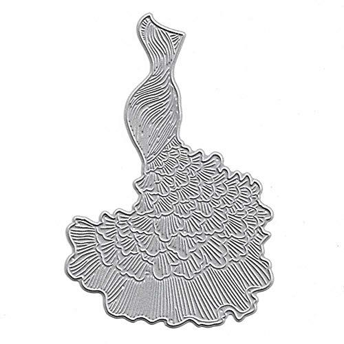 TankMR bruidsjurk met metalen afwerking, patroon van het sjabloon voor scrapbooking, Fai-da-Te van papier, kunsthandwerk Zilver.