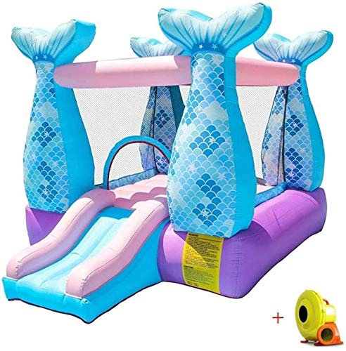 JCCOZ-URG Child Children Bouncy Castle Inflatable Activity Play Center Trampoline House Jumper Slide Combo Garden with Electric Air Blower Oxford Cloth Material URG ( Color : Blue )