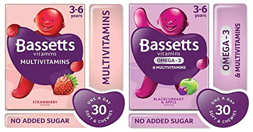 Bassetts Multivitamins Kids 3-6 Strawberry Flavour and Blackcurrant and Apple Flavour x2 Bundle