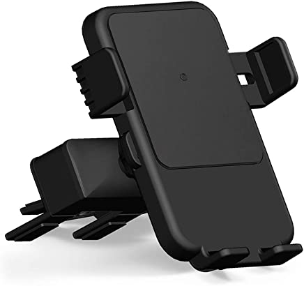 Qi Wireless Charger Car Mount - HMCC CD Slot Phone Holder Silicone Protection 360° Rotatable One-Touch Design Compatible iPhone Xs Max/XS/XR/X/8, Samsung Galaxy S10e/S10+/S10/S9/S9 Plus/S8