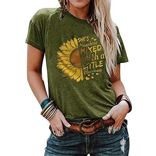 Qianxitang Women's Sunflower Graphic Letter Print Tops Short Sleeve Round Neck Summer Casual T Shirt Blouses Tees (Green, Medium)