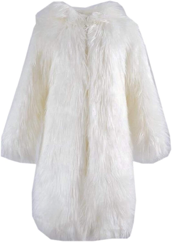 QDCACA Women Open Front Fuzzy Faux Fur Winter Mid Long Coat Jacket Overcoat