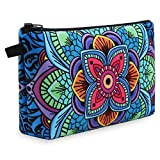 Makeup Bag, MAGEFY Portable Travel Cosmetic Bag Zipper Pouch Waterproof Makeup Pouch Multifunctional Small Bag for Women (1 pack, dark blue flower 0179)