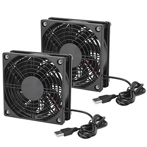 2PCS Computergehäuse Lüfter, Luftkühlung Ultra Silent Leiser Lüfter, 18dBA rauscharme USB PC Kühler Lüftergehäuse Lüfter, Lager mit langer Lebensdauer 5V