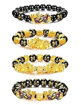 Besteel 4Pcs Feng Shui Pi Xiu Good Luck Bracelets for Men Women Black Obsidian Mantra Bead Attract Wealth Money Bracelet