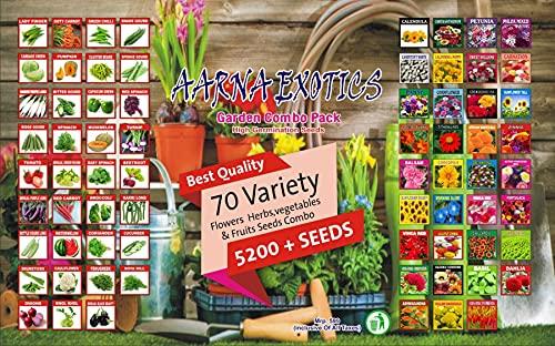 AARNA EXOTICS 70 variety Flowers, Herbs vegetables & Fruits seeds combo 5200+seeds