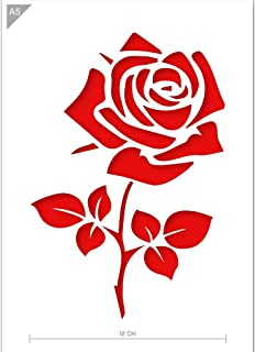 Rose Flower Stencil - Card or Plastic - A5 5.8 x 8.3 inch – Flower Width 5 inch - Reusable, Kids Friendly Stencil - Painting, Crafts, Cakes, Wall and Furniture Stencil (Plastic)