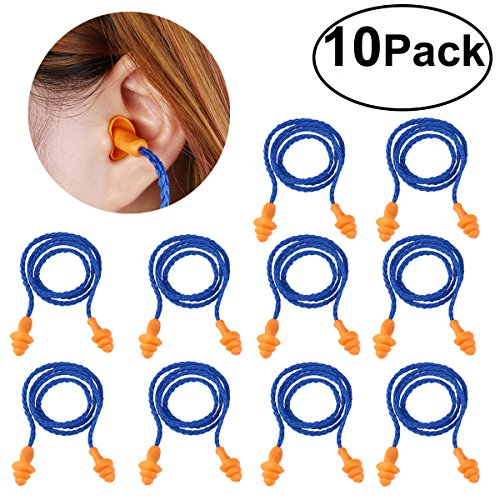 Foxnovo 10 Pairs of Soft Silicone Corded Ear Plugs Reusable Hearing Protection Earplugs (Blue)