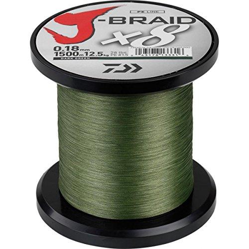 Daiwa J-Braid 8 Braid 0.18mm, 12.0kg / 26.5lbs, 1500m dunkelgrün, rund geflochtene Angelschnur