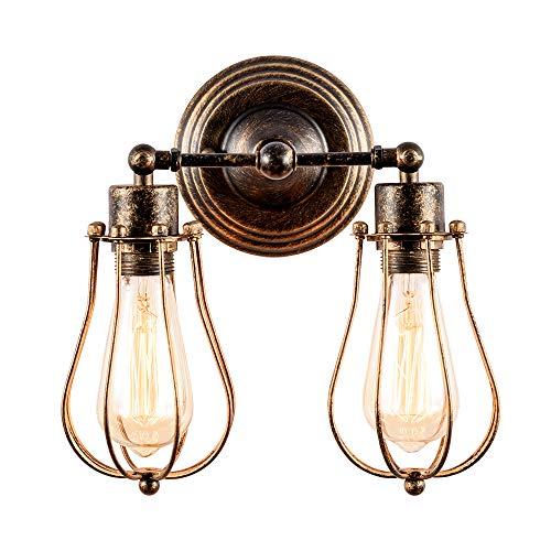 Industrieller Wandleuchter Rustikaler Dachboden Antike Wandleuchten Drahtkäfig Verstellbare Steckdose Edison Vintage Metall Retro-Lampe Lampen für Schlafzimmer (ohne Lampe) (mit 2 Licht) (Bronze)