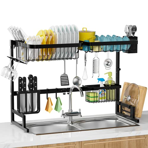 Over The Sink Dish Drying Rack, MERRYBOX 2-Tier Adjustable Length (25.6-33.5in), Stainless Steel Dish Drainer with Cutting Board Holder, Large Dish Rack for Kitchen Counter Organizer Space Saver