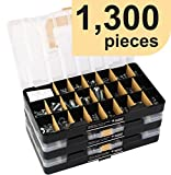 Deluxe Hardware Assortment Kit with Professional'No Mix' Case (1,300 Piece, 60 Sizes, Nuts, Bolts, Washers & Screws)