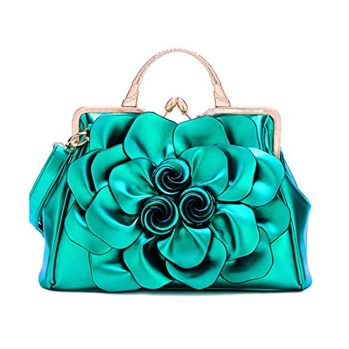 Well Made:This women's flower handbag made of high quality patent leather and terylene-cotton lining,the hardware is gold.It is a noble and elegant flower evening bag Elegant Design:This flower evening handbag stuns with classic floral and rhinestone...