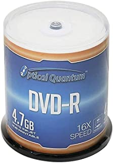 Optical Quantum DVD-R 4.7GB 16X White Inkjet Printable Hub Printable - 100pk Cake Box (FFB)