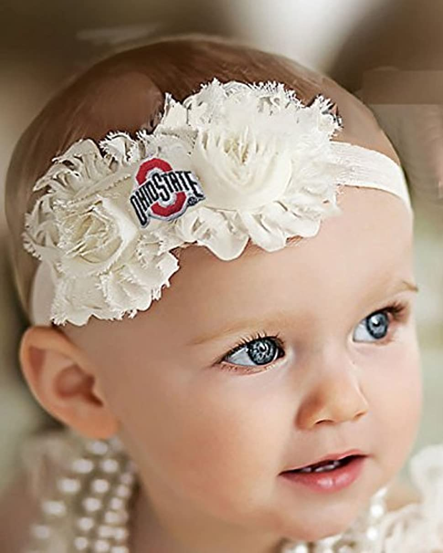 Future Tailgater Ohio State Buckeyes Baby/Toddler Shabby Flower Bow Headband (6 mo. - 12 mo./ 14