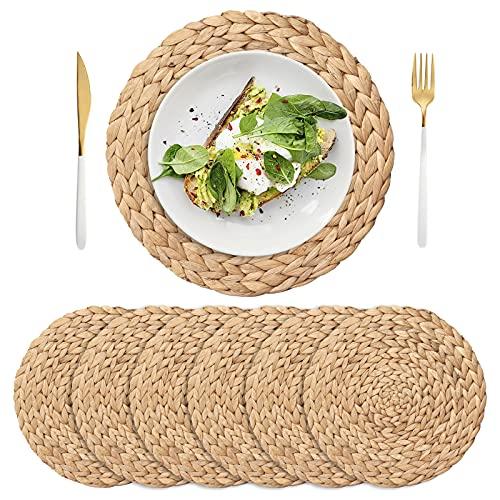 IVAILEX Confezione da 6 tovagliette intrecciate, tovagliette naturali in giacinto d'acqua intrecciate a mano, tovagliette rotonde in rattan intrecciato per tavolo da pranzo(11,8 pollici)