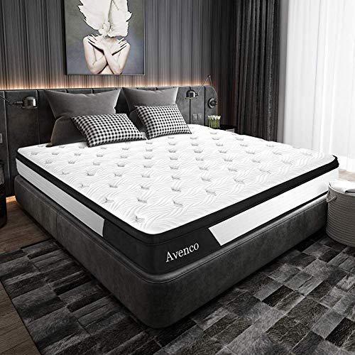 Queen Mattress, Avenco Hybrid Mattress Queen, 10 Inch Innerspring and Gel Memory Foam Mattress in a Box, with CertiPUR-US Foam for Supportive, Pressure Relief & Cooler Sleeping, 10 Years Support