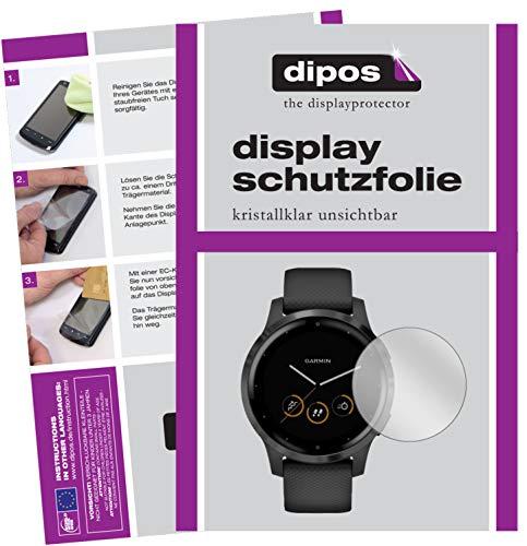 dipos I 2X Schutzfolie klar kompatibel mit Garmin Vivoactive 4 (44mm) Folie Displayschutzfolie (bewusst Kleiner als das Glas, da Dieses gewölbt ist)