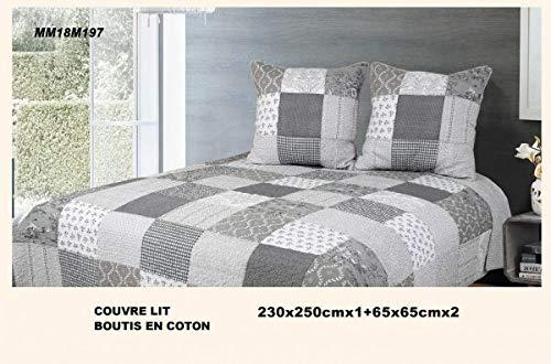 Alpes Blanc Boutis Couvre-lit Patchwork Sweet Home Gris 230x250