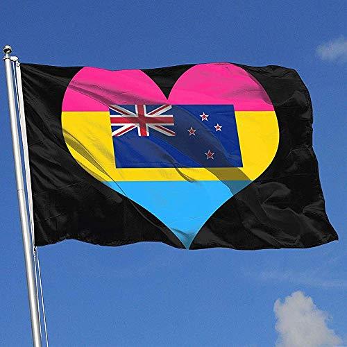 qinzuisp Yard Vlag Panseksueel Hart Nieuw-Zeeland Vlag Vakantie 100% Polyester 150X90Cm Outdoor Tuin Vlag Welkom Kleurrijke Breeze Vlag Banner Ontwerp