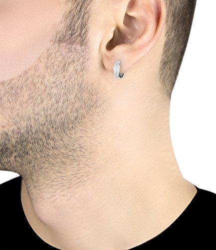Carissima Gold Men's 9 ct Gold Pave Set Diamond Single Huggy Earring