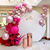 Macaron Rose Red Balloon Arch Garland Kit-Macaron Rose Red Balloon Pink Baloon Metallic Pink Balloon 135Pcs for Princess Birthday,Gender Reveal,Baby Shower,Wedding,Graduation,Christmas and Holiday Party Decoration.